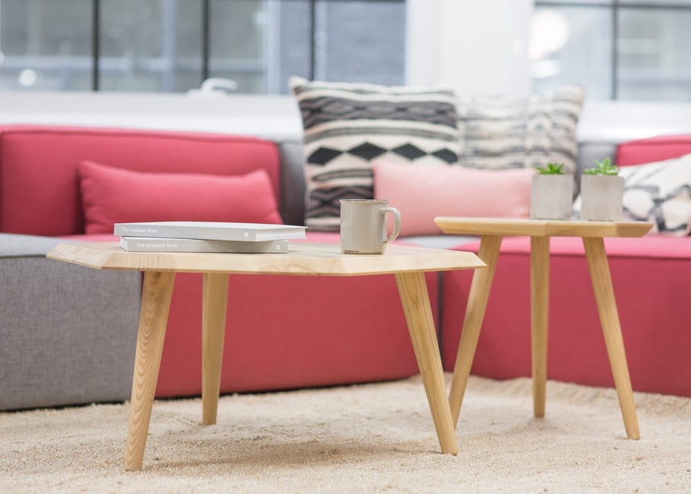 upholstery and small table on rug